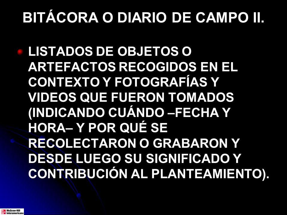 BITÁCORA O DIARIO DE CAMPO II.