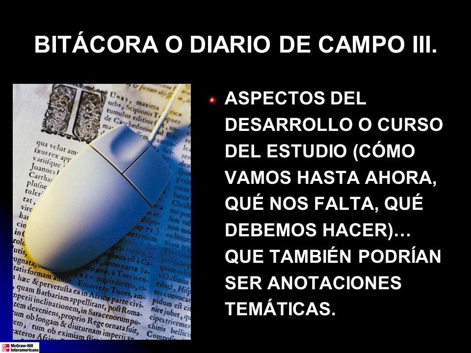BITÁCORA O DIARIO DE CAMPO III.