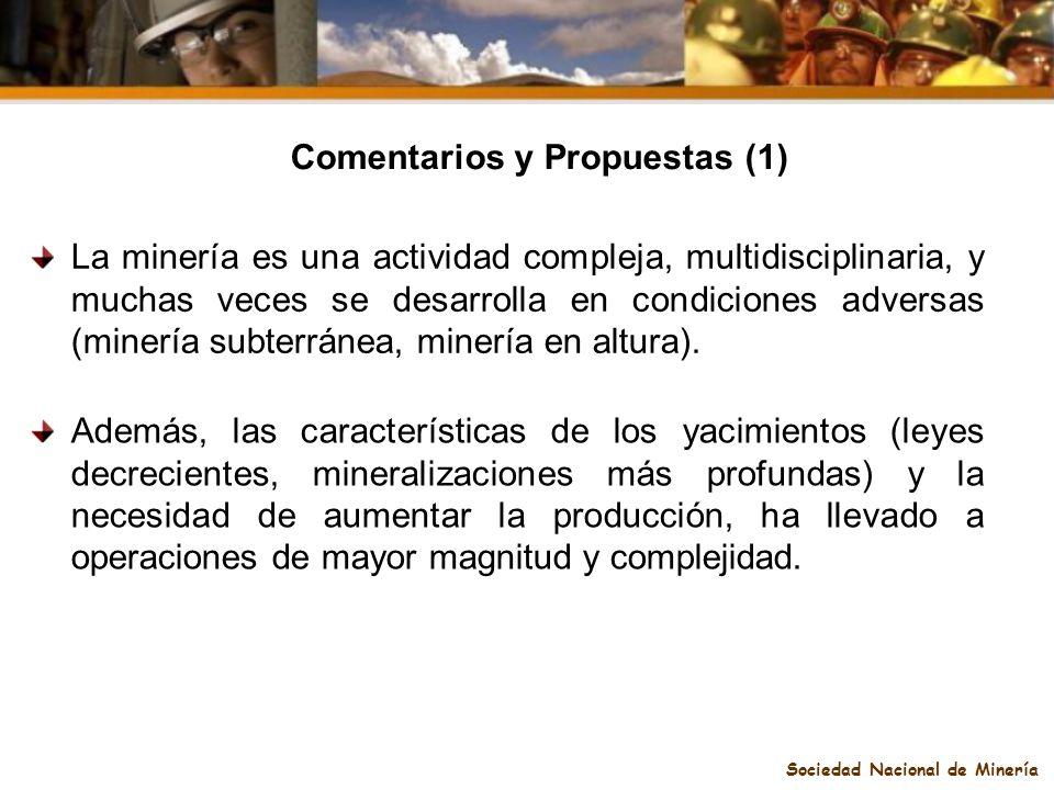 Comentarios y Propuestas (1) Sociedad Nacional de Minería