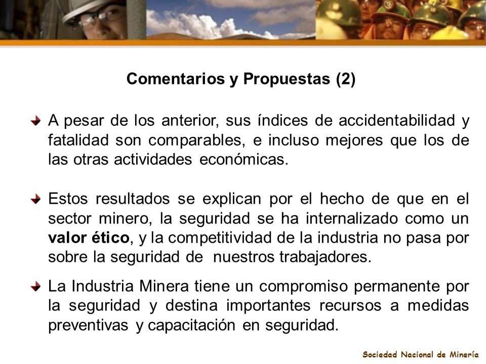Comentarios y Propuestas (2) Sociedad Nacional de Minería