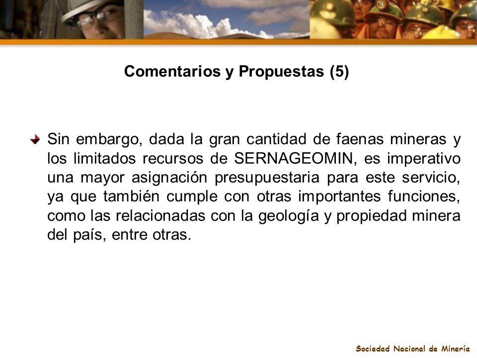 Comentarios y Propuestas (5) Sociedad Nacional de Minería