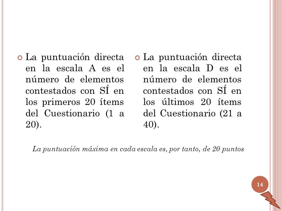 La puntuación directa en la escala A es el número de elementos contestados con SÍ en los primeros 20 ítems del Cuestionario (1 a 20).