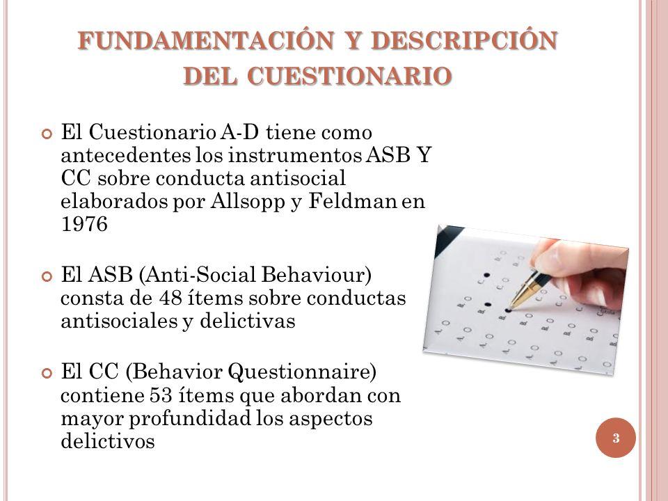 fundamentación y descripción del cuestionario