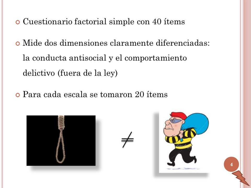 Cuestionario factorial simple con 40 ítems