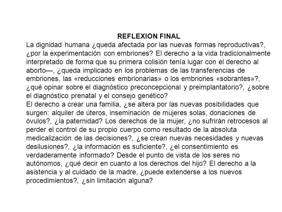 REFLEXION FINAL La dignidad humana ¿queda afectada por las nuevas formas reproductivas ,