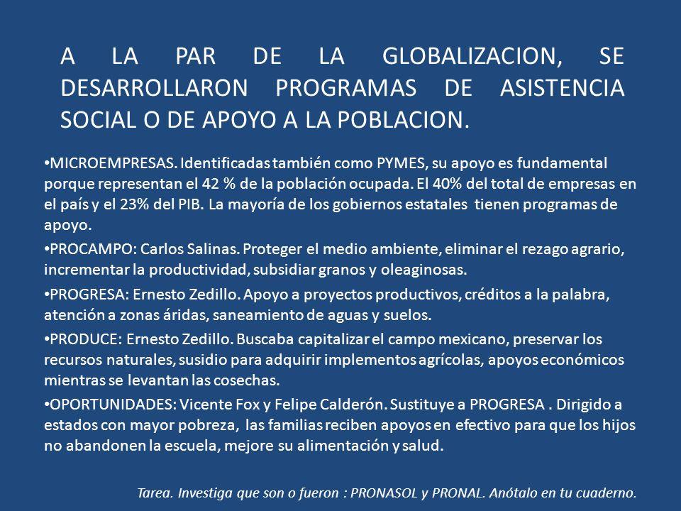 A LA PAR DE LA GLOBALIZACION, SE DESARROLLARON PROGRAMAS DE ASISTENCIA SOCIAL O DE APOYO A LA POBLACION.
