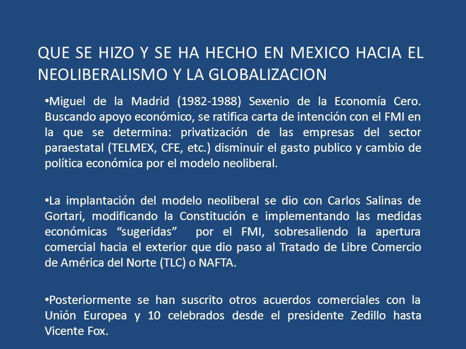 QUE SE HIZO Y SE HA HECHO EN MEXICO HACIA EL NEOLIBERALISMO Y LA GLOBALIZACION