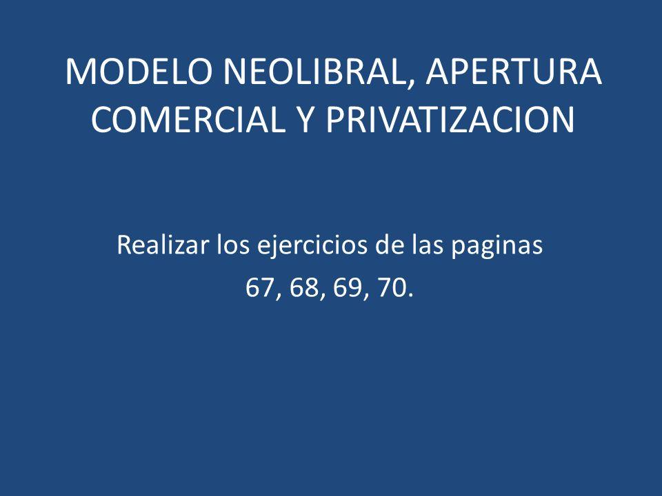 MODELO NEOLIBRAL, APERTURA COMERCIAL Y PRIVATIZACION