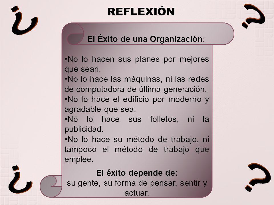 ¿ ¿ ¿ ¿ REFLEXIÓN El Éxito de una Organización: