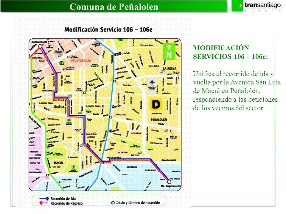 Comuna de Peñalolen MODIFICACIÓN SERVICIOS 106 – 106e: