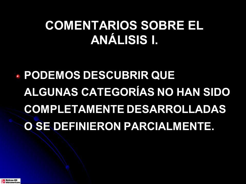 COMENTARIOS SOBRE EL ANÁLISIS I.