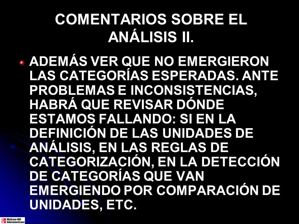 COMENTARIOS SOBRE EL ANÁLISIS II.