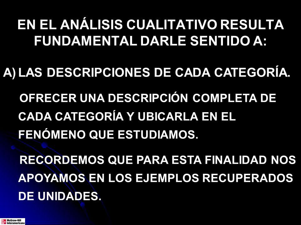 EN EL ANÁLISIS CUALITATIVO RESULTA FUNDAMENTAL DARLE SENTIDO A: