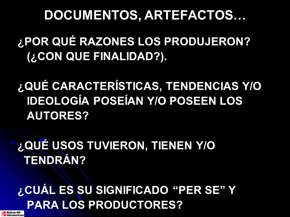 DOCUMENTOS, ARTEFACTOS…