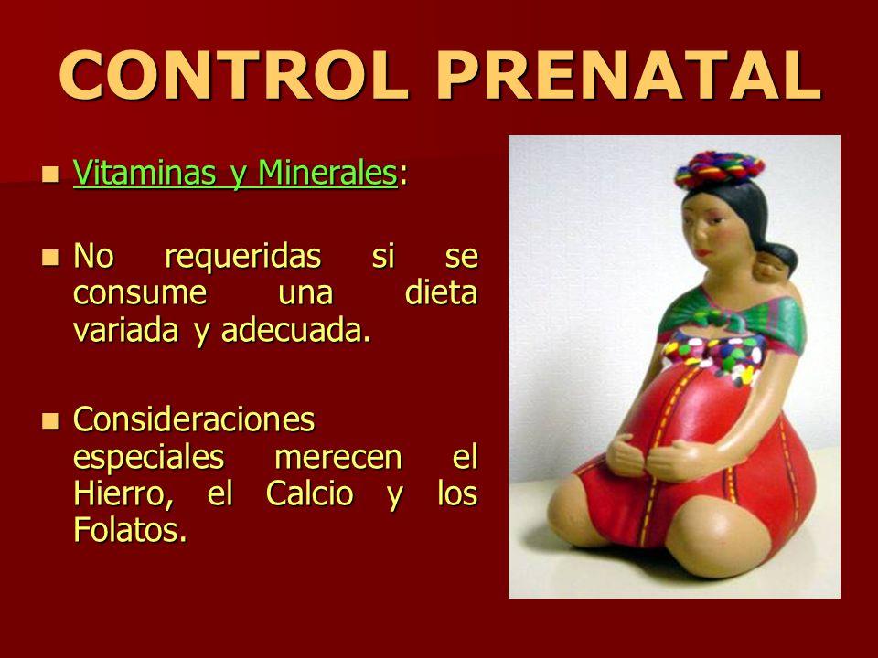 CONTROL PRENATAL Vitaminas y Minerales: