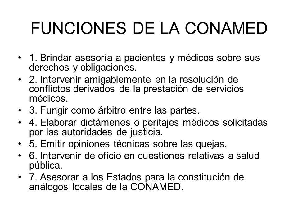FUNCIONES DE LA CONAMED