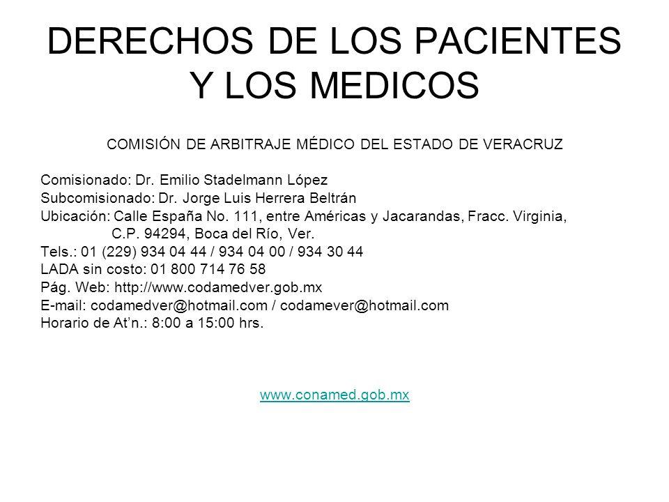 DERECHOS DE LOS PACIENTES Y LOS MEDICOS