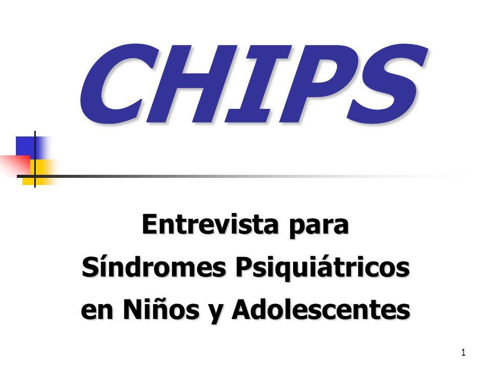 Entrevista para Síndromes Psiquiátricos en Niños y Adolescentes