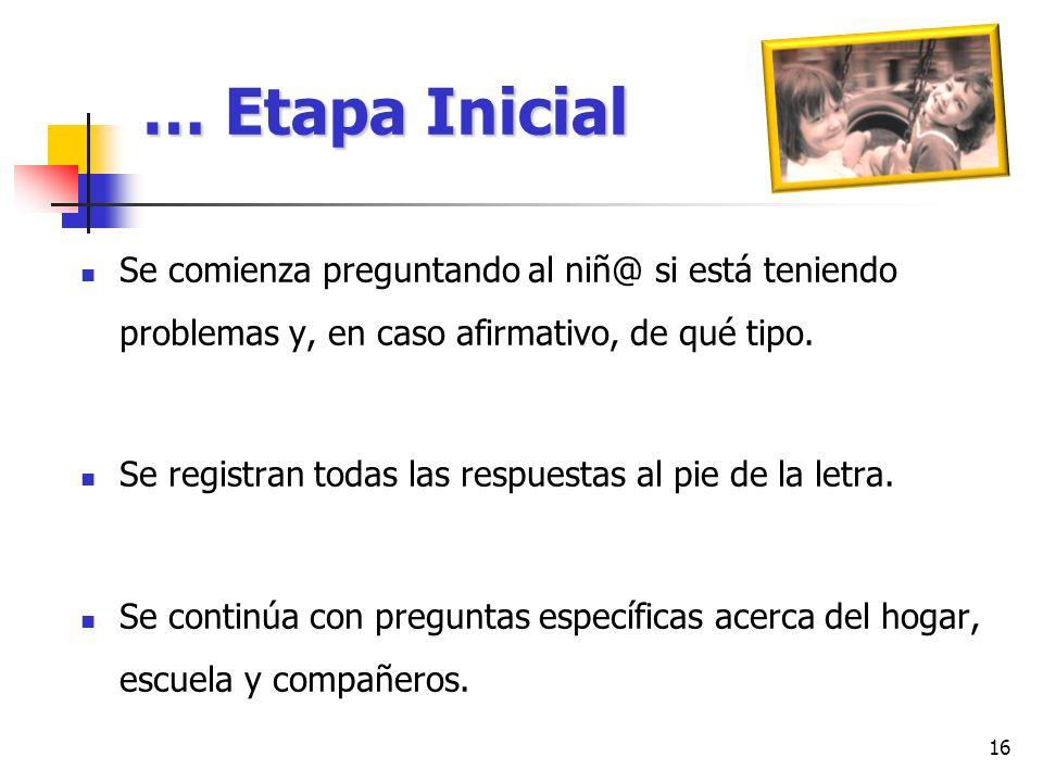 … Etapa Inicial Se comienza preguntando al niñ@ si está teniendo problemas y, en caso afirmativo, de qué tipo.