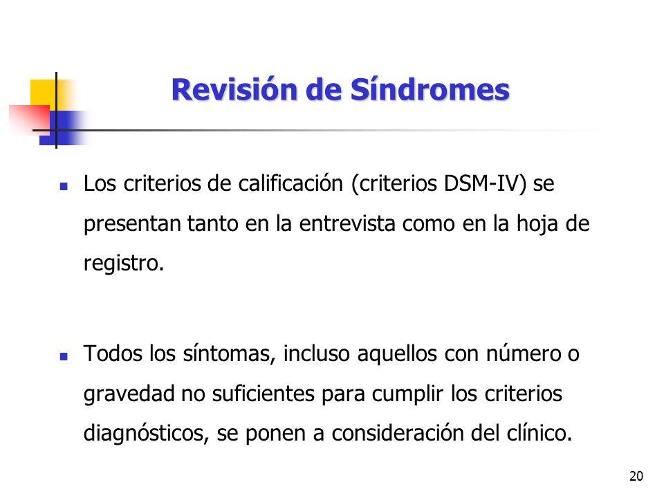 Revisión de Síndromes Los criterios de calificación (criterios DSM-IV) se presentan tanto en la entrevista como en la hoja de registro.