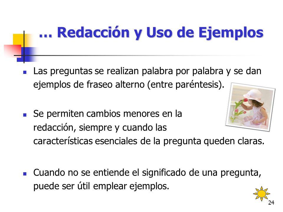 … Redacción y Uso de Ejemplos