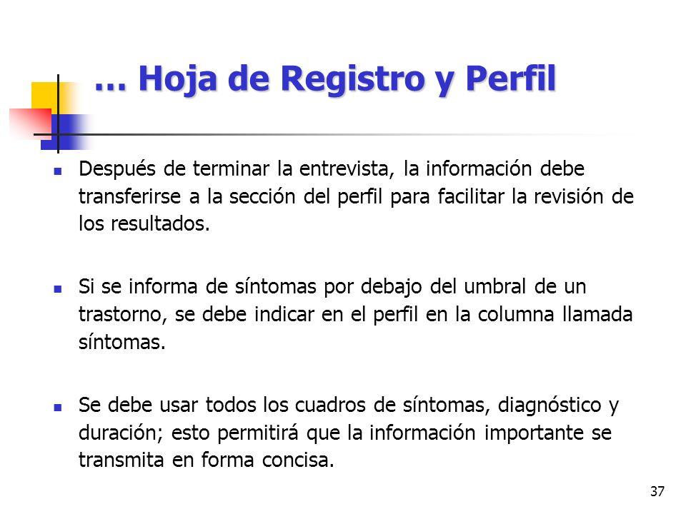 … Hoja de Registro y Perfil