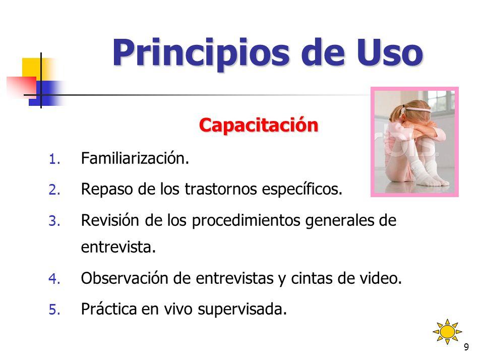 Principios de Uso Capacitación Familiarización.