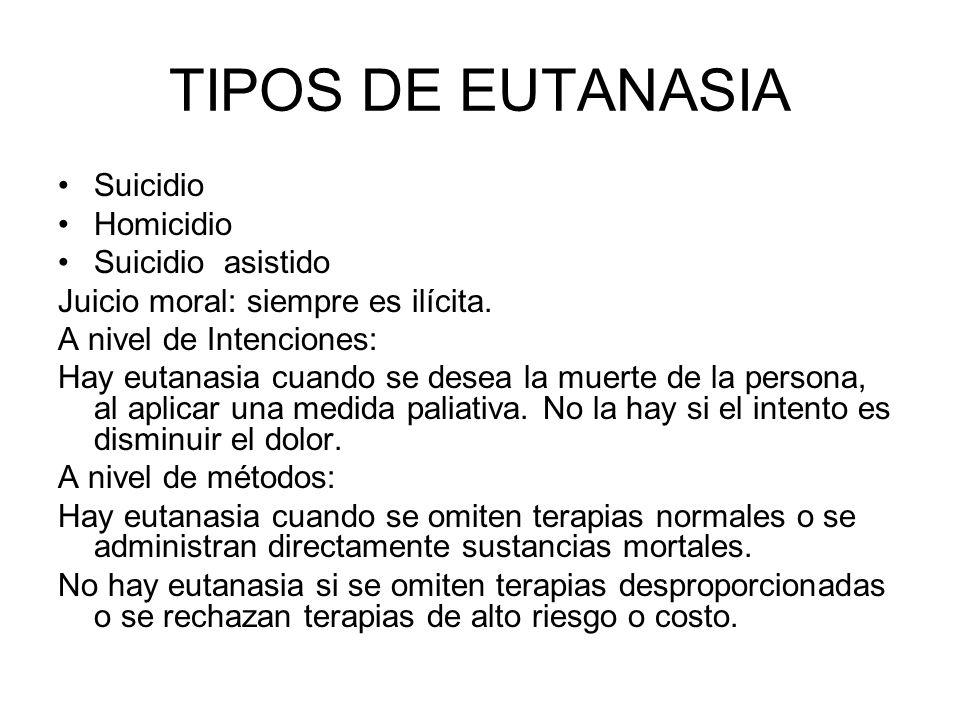 TIPOS DE EUTANASIA Suicidio Homicidio Suicidio asistido