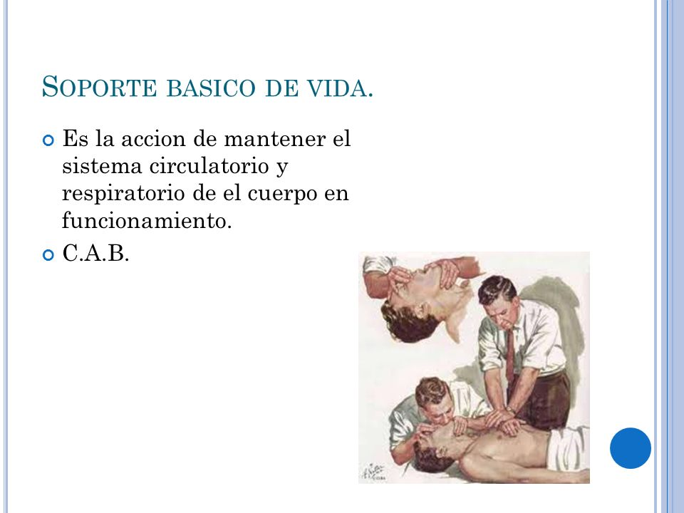 Soporte basico de vida. Es la accion de mantener el sistema circulatorio y respiratorio de el cuerpo en funcionamiento.