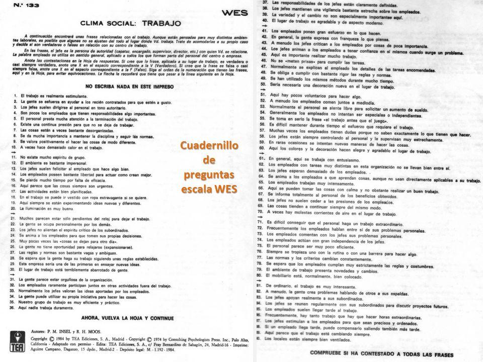 Cuadernillo de preguntas escala WES