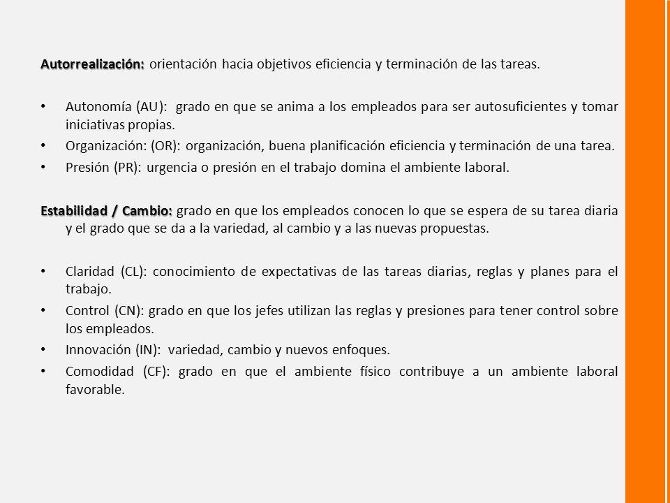 Autorrealización: orientación hacia objetivos eficiencia y terminación de las tareas.