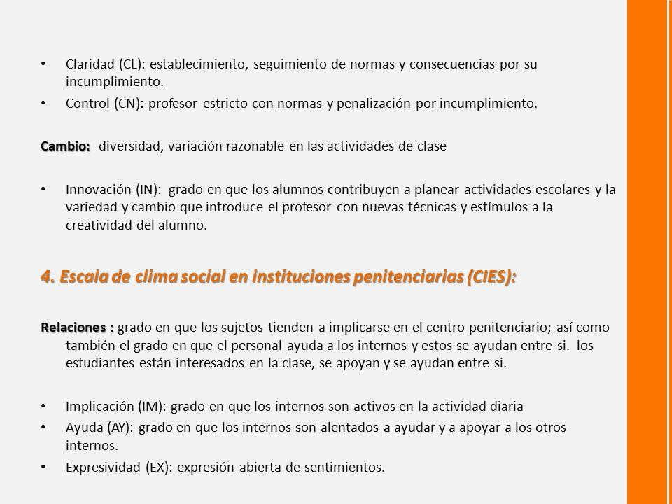 4. Escala de clima social en instituciones penitenciarias (CIES):