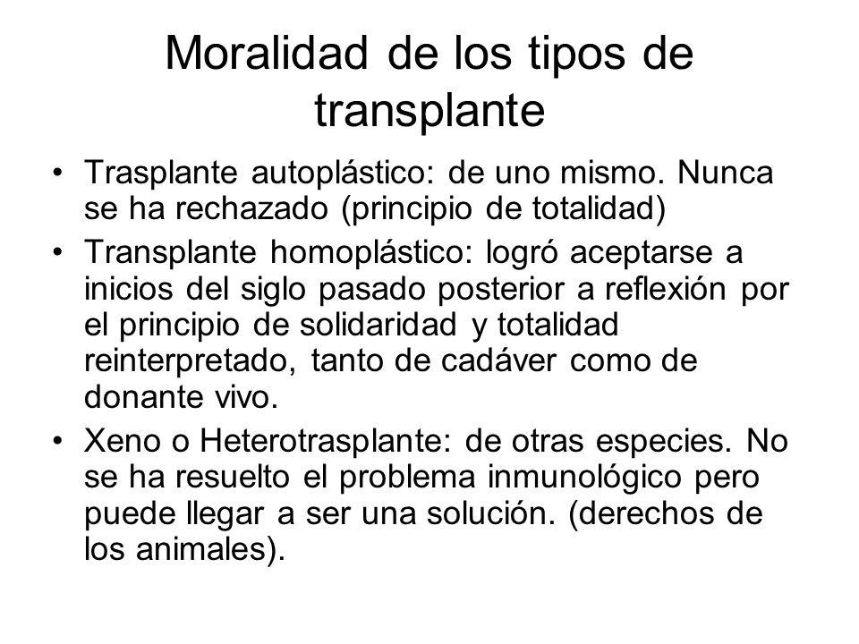 Moralidad de los tipos de transplante