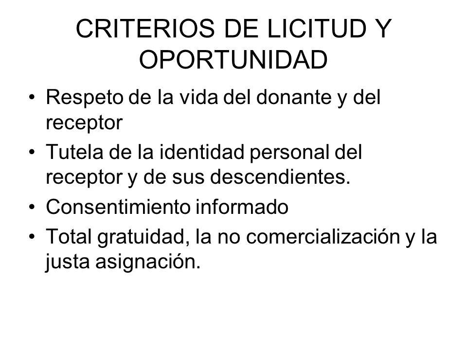 CRITERIOS DE LICITUD Y OPORTUNIDAD