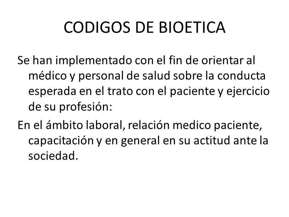 CODIGOS DE BIOETICA