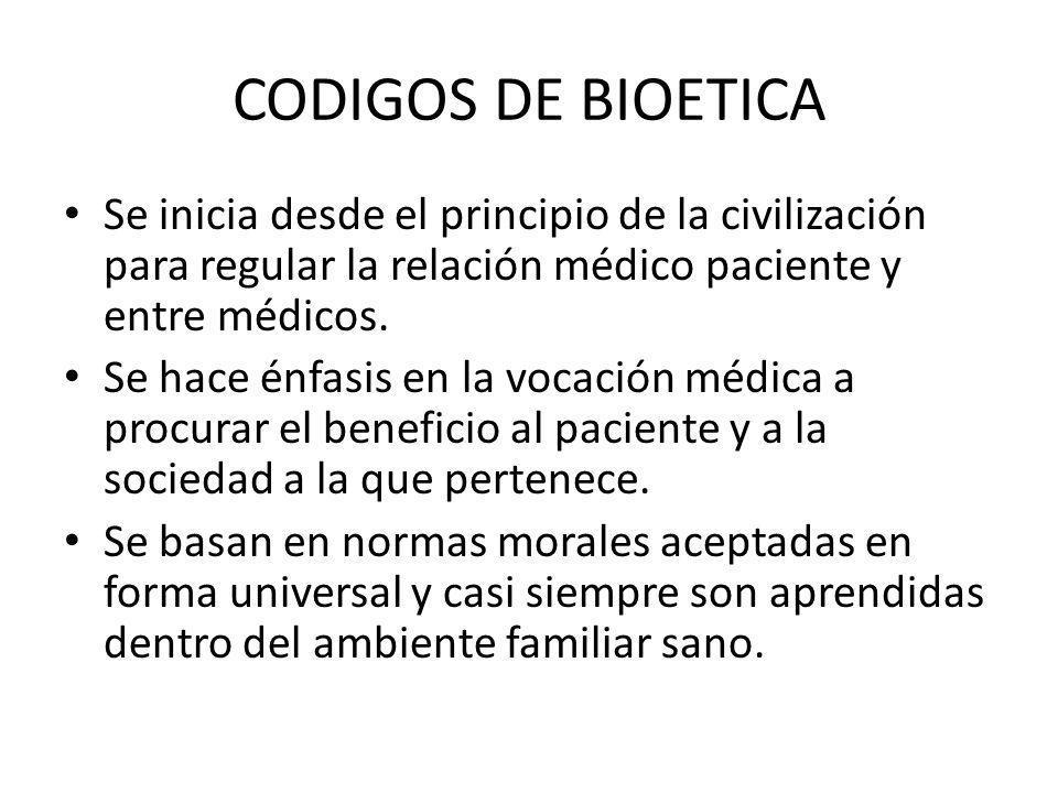 CODIGOS DE BIOETICA Se inicia desde el principio de la civilización para regular la relación médico paciente y entre médicos.