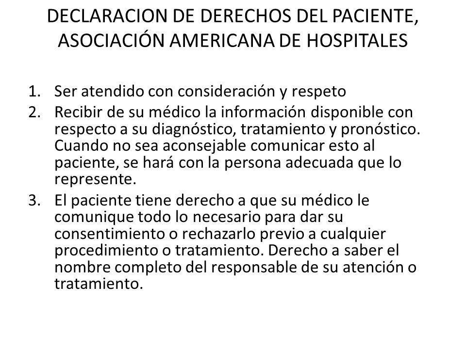 DECLARACION DE DERECHOS DEL PACIENTE, ASOCIACIÓN AMERICANA DE HOSPITALES