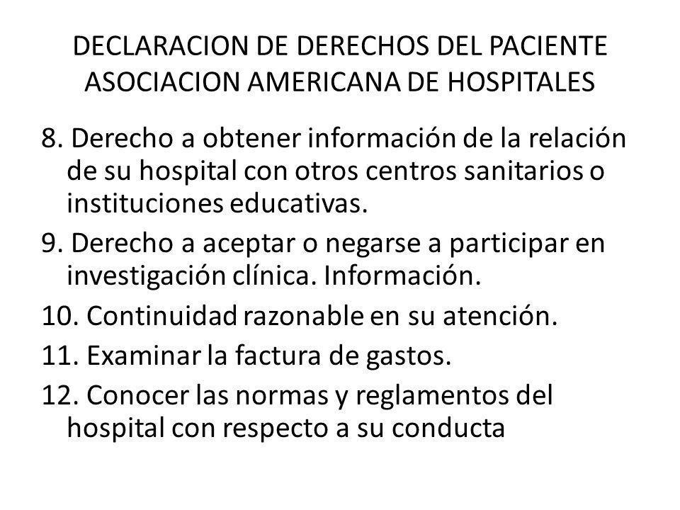 DECLARACION DE DERECHOS DEL PACIENTE ASOCIACION AMERICANA DE HOSPITALES