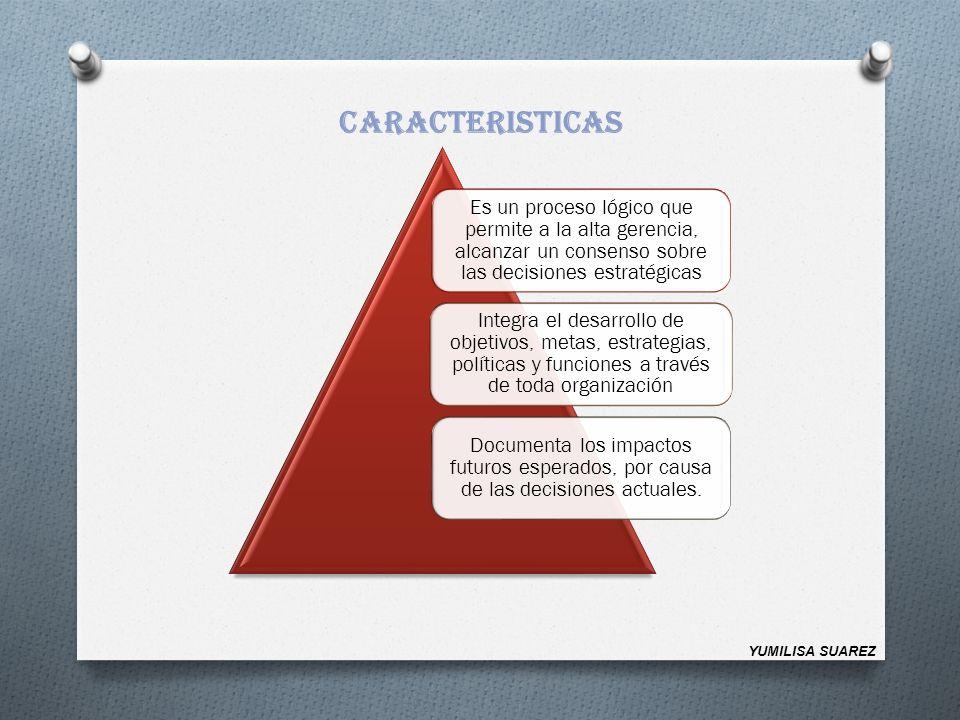 CARACTERISTICAS Es un proceso lógico que permite a la alta gerencia, alcanzar un consenso sobre las decisiones estratégicas.