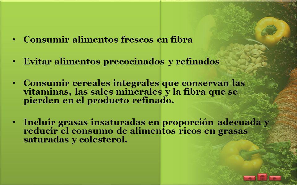Consumir alimentos frescos en fibra