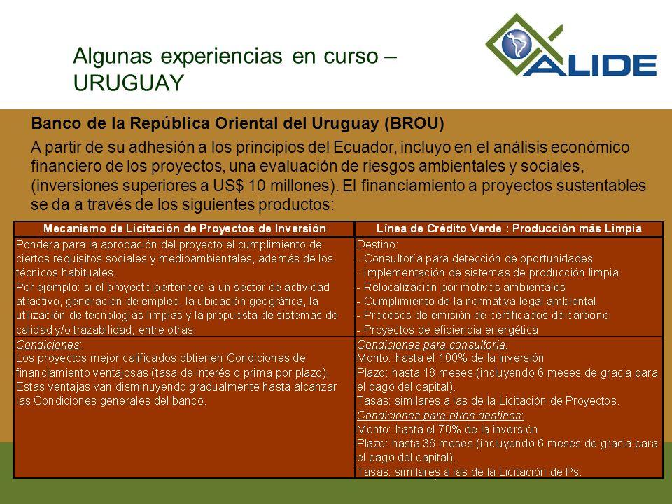Algunas experiencias en curso – URUGUAY