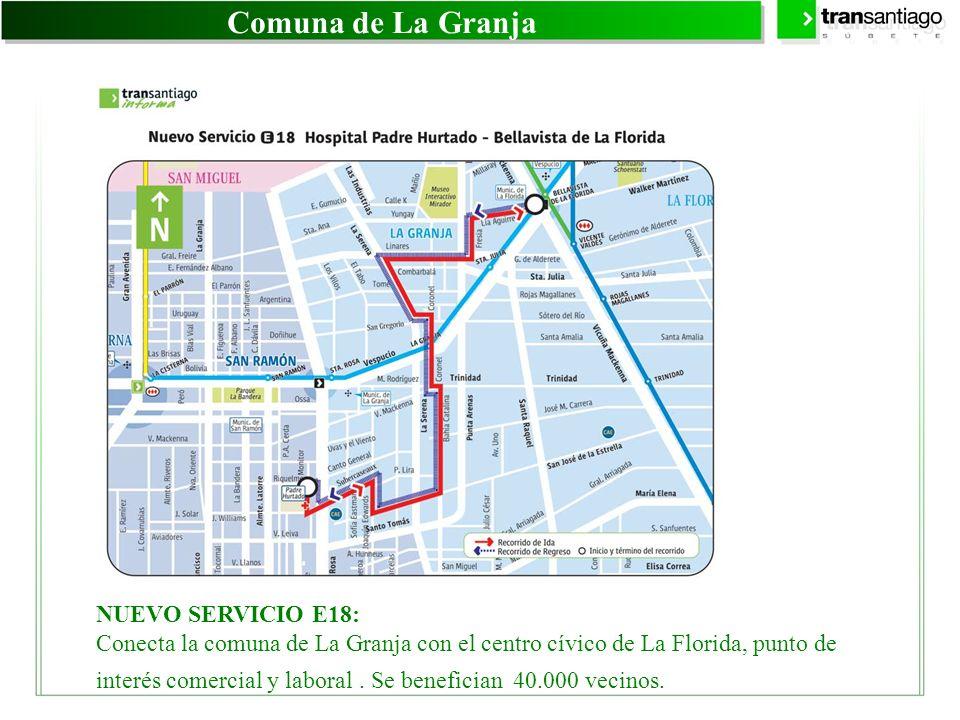 Comuna de La Granja NUEVO SERVICIO E18: