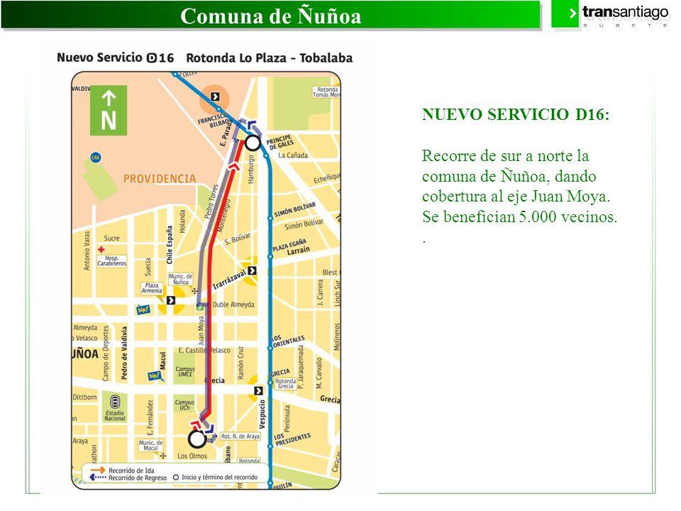 Comuna de Ñuñoa NUEVO SERVICIO D16: