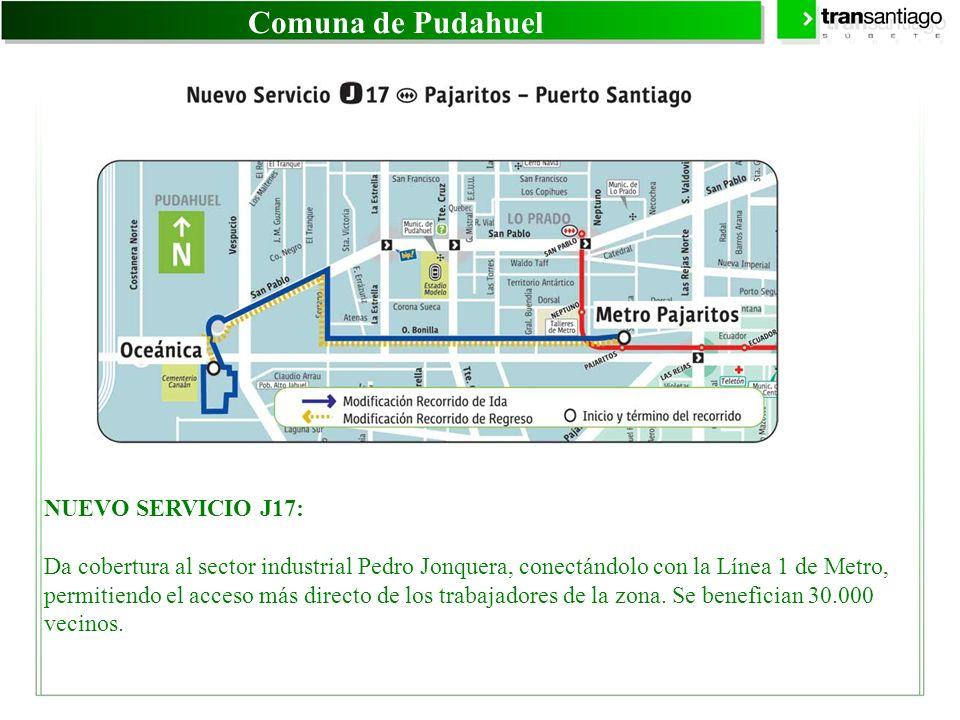 Comuna de Pudahuel NUEVO SERVICIO J17: