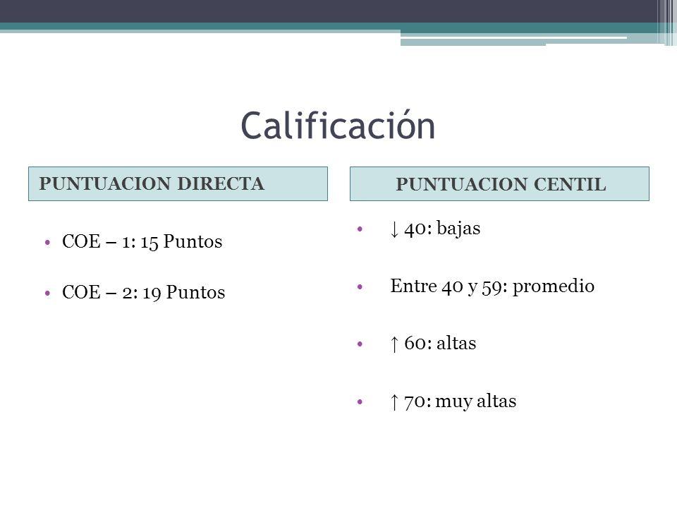 Calificación ↓ 40: bajas COE – 1: 15 Puntos Entre 40 y 59: promedio