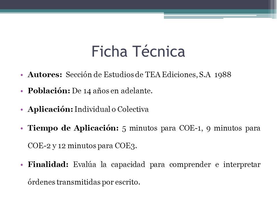 Ficha Técnica Autores: Sección de Estudios de TEA Ediciones, S.A 1988