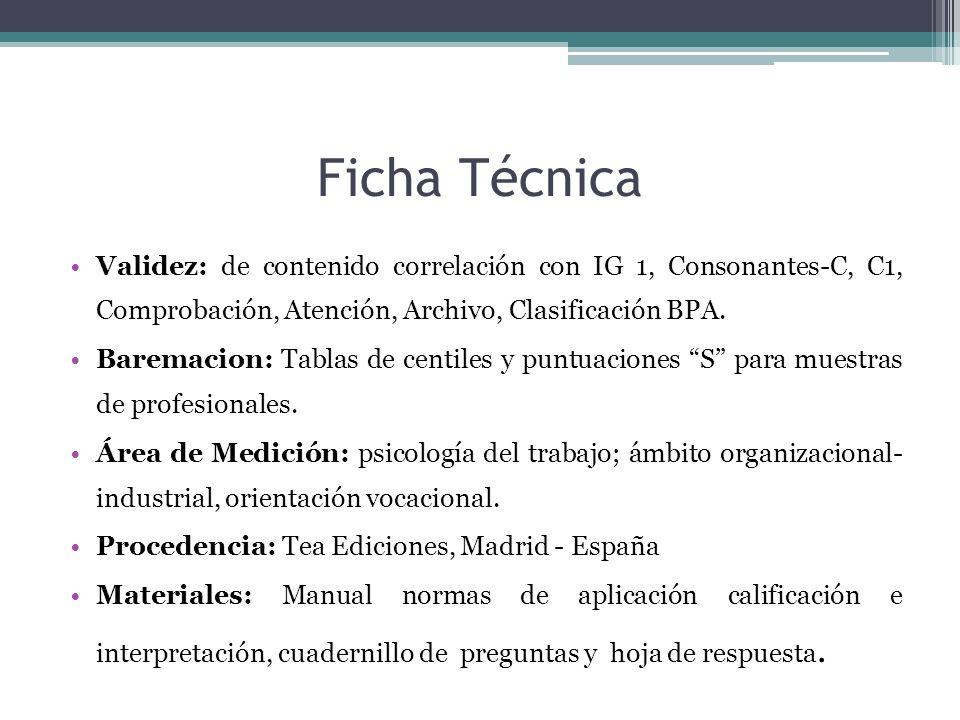 Ficha Técnica Validez: de contenido correlación con IG 1, Consonantes-C, C1, Comprobación, Atención, Archivo, Clasificación BPA.