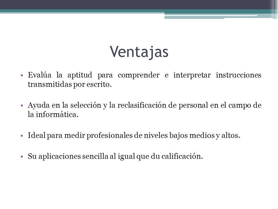 Ventajas Evalúa la aptitud para comprender e interpretar instrucciones transmitidas por escrito.