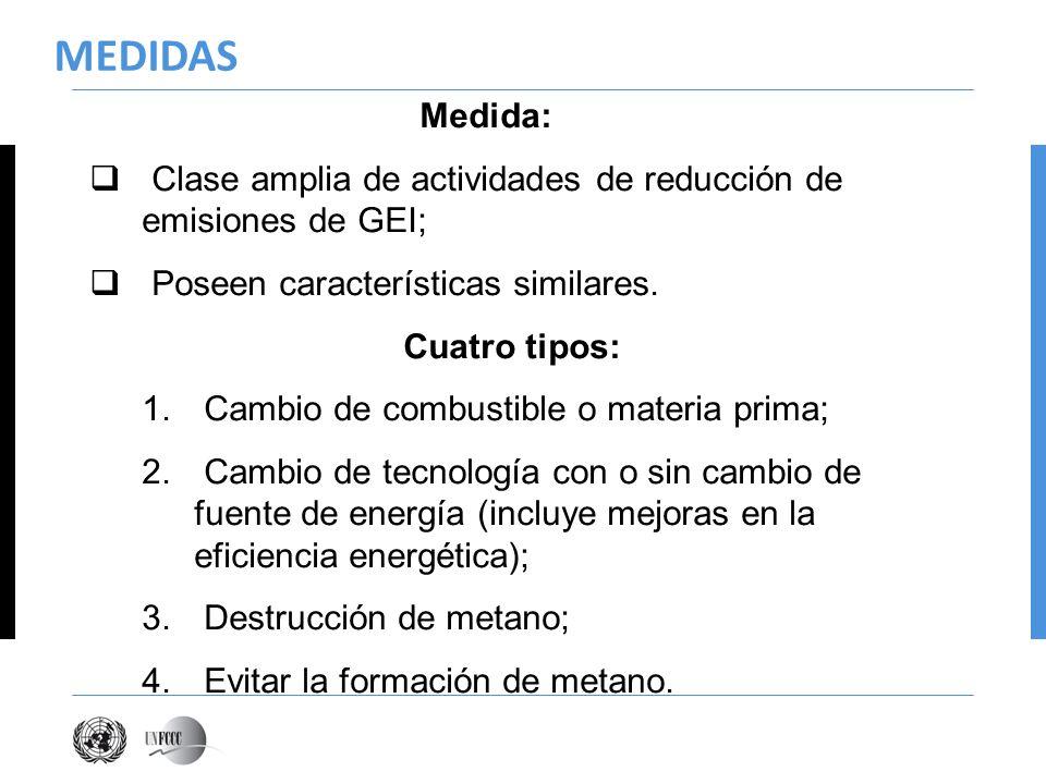 MEDIDAS Medida: Clase amplia de actividades de reducción de emisiones de GEI; Poseen características similares.