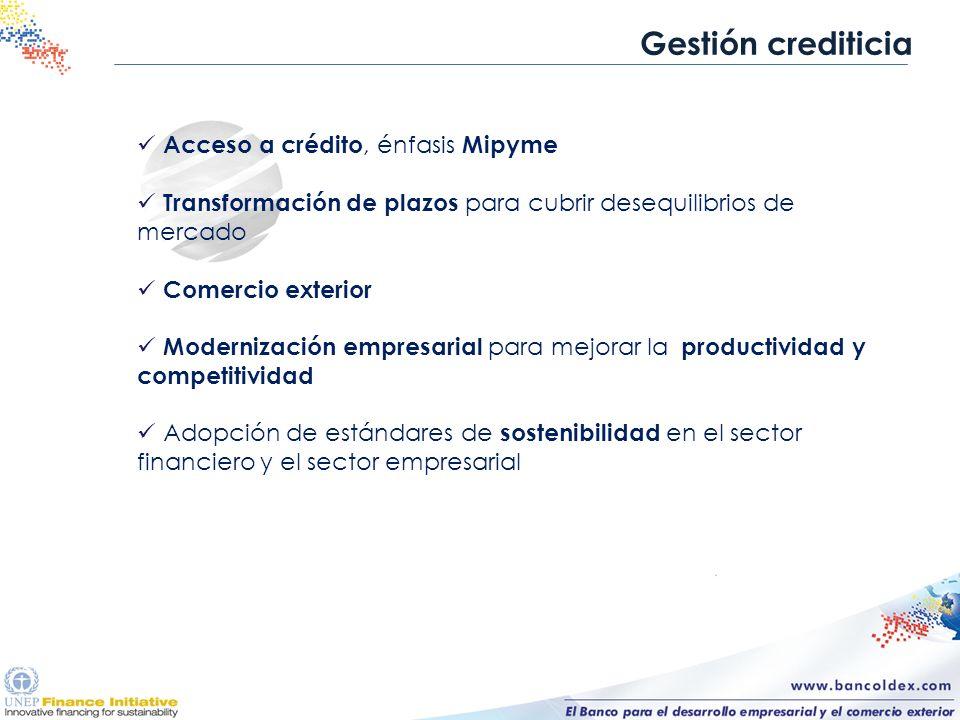 Gestión crediticia Acceso a crédito, énfasis Mipyme